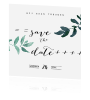 Moderne save the date kaart met blaadjes
