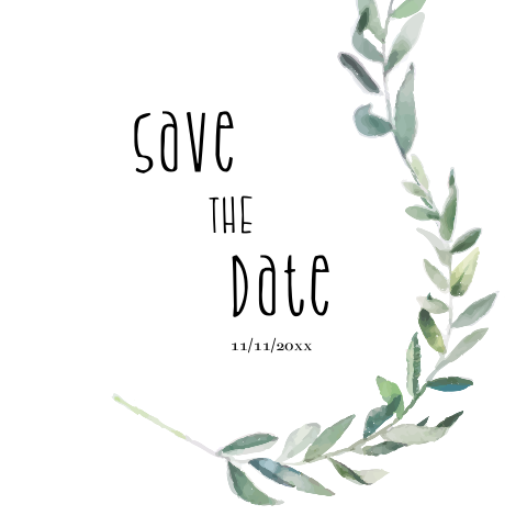 Moderne save the date kaart met takje