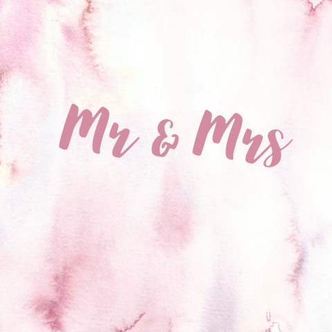 Moderne trouwkaart Mr en Mrs roze