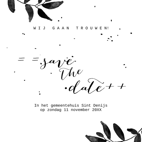 Hippe save the date kaart blaadjes en confetti